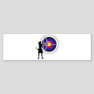 Archery woman Sticker (Bumper)