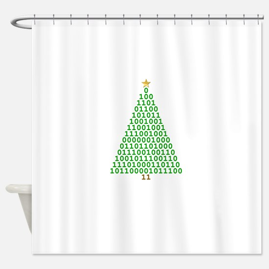Binary Merry Christmas Shower Curtain