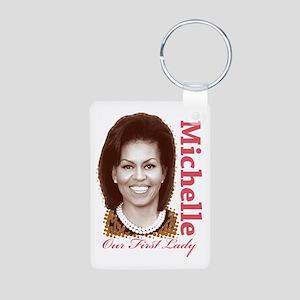 Michelle Obama Aluminum Photo Keychain