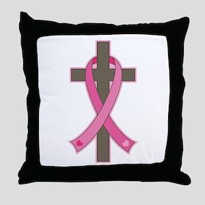 Breast Cancer Cross Throw Pillow