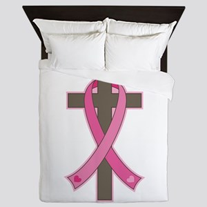 Breast Cancer Cross Queen Duvet
