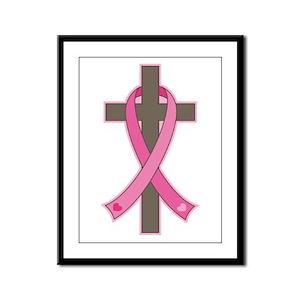 Breast Cancer Cross Framed Panel Print