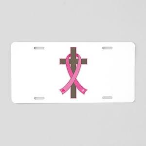 Breast Cancer Cross Aluminum License Plate