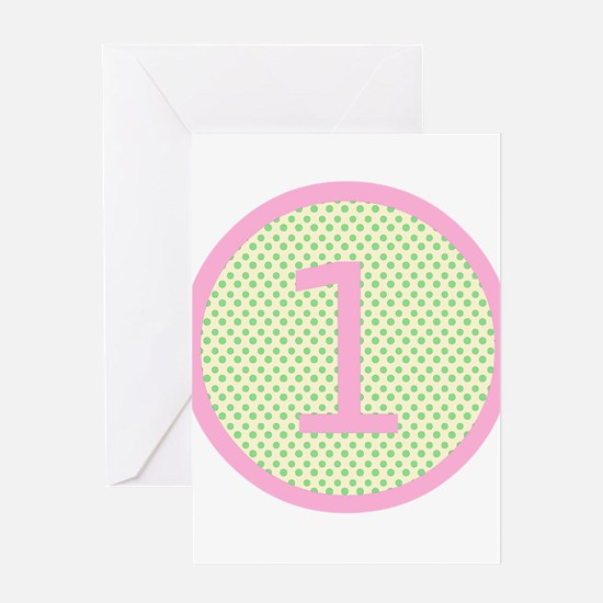 Pink and Mint Green First Birthday ONE Greeting Ca