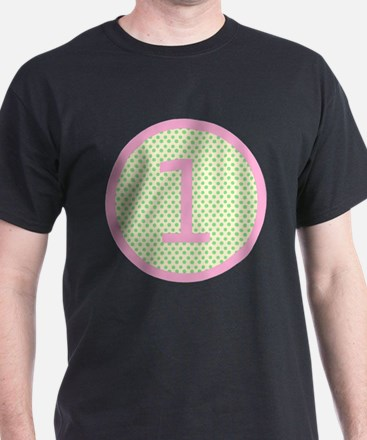 Pink and Mint Green First Birthday ONE T-Shirt