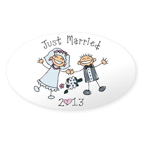 Stick Just Married 2013 Sticker (Oval)