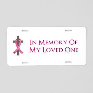 In Memory Cross Aluminum License Plate