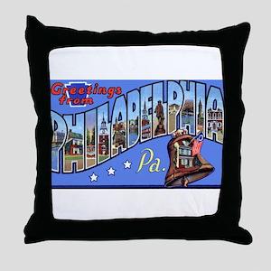 Philadelphia Pennsylvania Greetings Throw Pillow