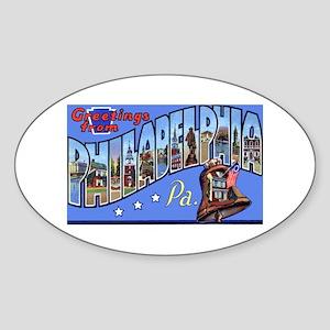 Philadelphia Pennsylvania Greetings Oval Sticker