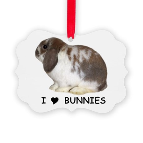 i love bunnies Picture Ornament