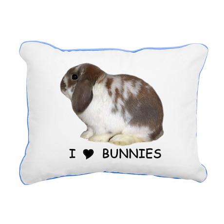 i love bunnies Rectangular Canvas Pillow