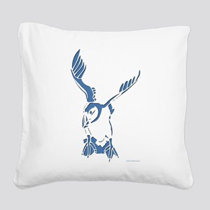 Puffin Landing Square Canvas Pillow