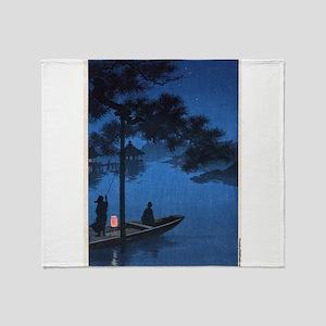 Shubi Pine - anon - 1900 - woodcut Throw Blanket