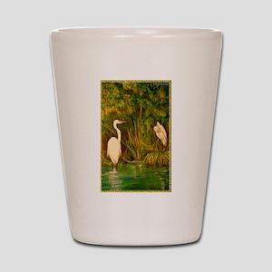 Egrets! Bird, wildlife, wetland art! Shot Glass