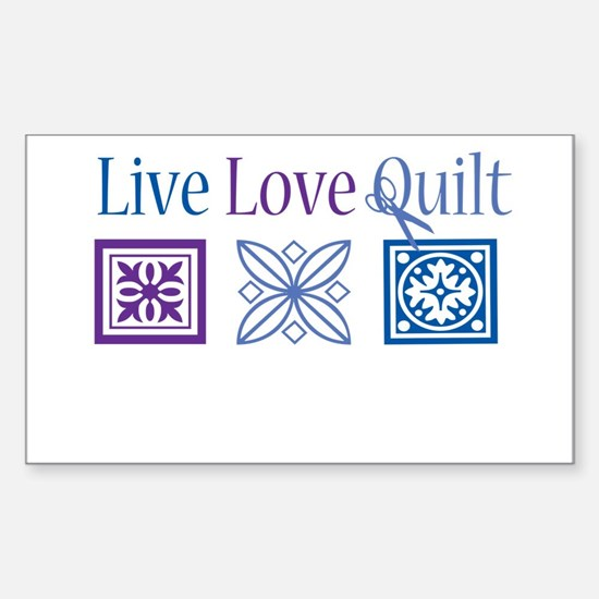 Live Love Quilt Sticker (Rectangle)