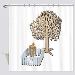 Enclosed Yard and Tree Shower Curtain