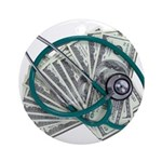 Stethoscope and Money Ornament (Round)