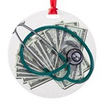Stethoscope and Money Round Ornament