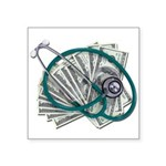 Stethoscope and Money Square Sticker 3
