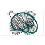 Stethoscope and Money Sticker (Rectangle 10 pk)
