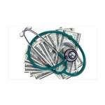 Stethoscope and Money 35x21 Wall Decal