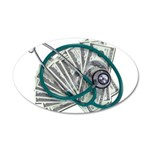 Stethoscope and Money 35x21 Oval Wall Decal