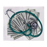 Stethoscope and Money Throw Blanket