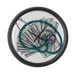 Stethoscope and Money Large Wall Clock