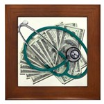 Stethoscope and Money Framed Tile