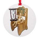 Sitting Timeout Chair Hour Glass Round Ornament