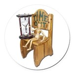 Sitting Timeout Chair Hour Glass Round Car Magnet