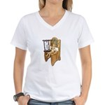 Sitting Timeout Chair Hour Glass Women's V-Neck T-