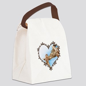 Giraffe & Calf Snowflake Heart Canvas Lunch Bag