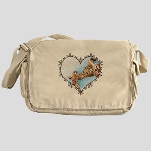 Giraffe & Calf Snowflake Heart Messenger Bag