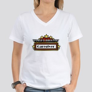 World's Greatest Caregiver Women's V-Neck T-Shirt