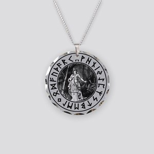 Freya Rune Shield Necklace Circle Charm