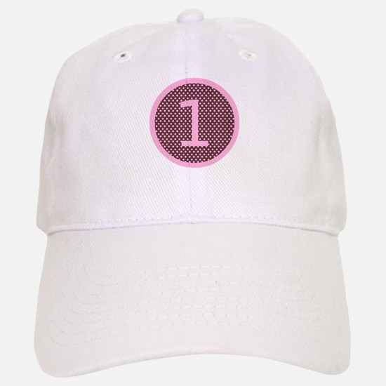 Pink and Brown First Birthday ONE Baseball Baseball Cap