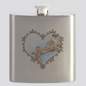 Giraffe & Calf Snowflake Heart Flask