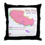Tibet Map Throw Pillow