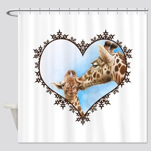 Giraffe & Calf Snowflake Heart Shower Curtain