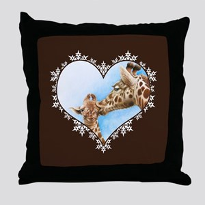 Giraffe & Calf Snowflake Heart Throw Pillow