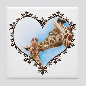Giraffe & Calf Snowflake Heart Tile Coaster