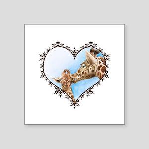 """Giraffe & Calf Snowflake Heart Square Sticker 3"""" x"""