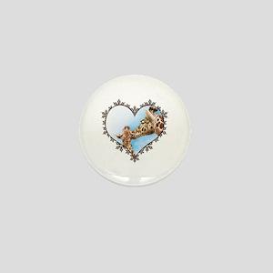 Giraffe & Calf Snowflake Heart Mini Button