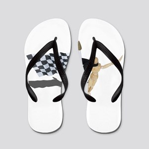 Waving Checkered Flag Flip Flops