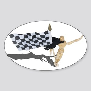 Waving Checkered Flag Sticker (Oval)