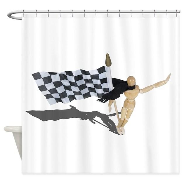 Waving Checkered Flag Shower Curtain by ShroudedLakeDesigns