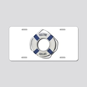 Welcome Aboard Life Preserver Aluminum License Pla