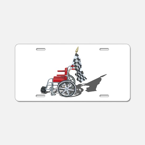 Checkered Flag and Wheelchair Aluminum License Pla