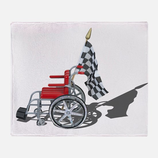 Checkered Flag and Wheelchair Throw Blanket